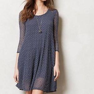 Anthro Lilka Blue Lace Flare Dress - Polka Dot
